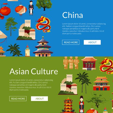 Vector flat style china elements and sight