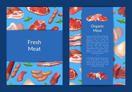 Vector cartoon meat elements card, flyer or brochure