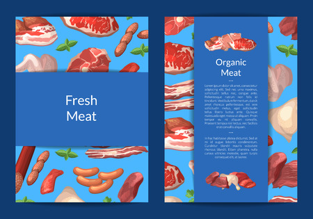 Vector cartoon meat elements card, flyer or brochure