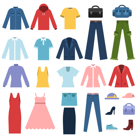 Set of different clothes for male and female Stock Photo