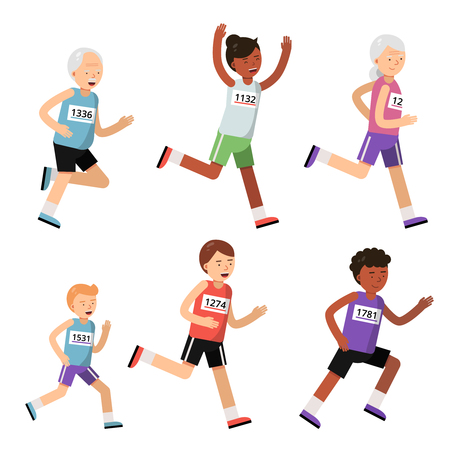 Running people of different ages. Sport characters. Marathon runner activity, people fitness sport. Vector illustration Vettoriali