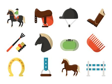 Vector flat icons. Symbols of equestrian sport. Equestrian sport, animal horse race, barrier and jockey illustration Illustration