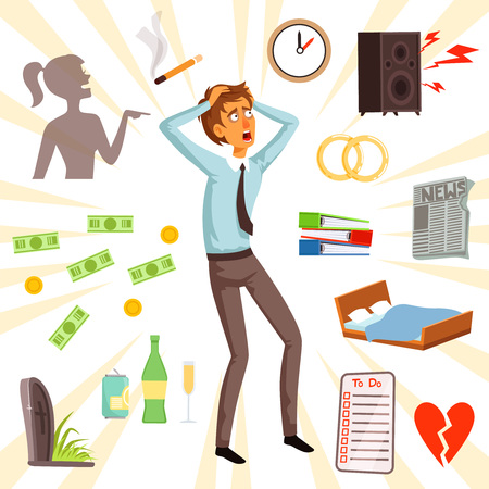 Attributes and symbols of stress and fear. Unhappy adult character, fear and stress illustration vector