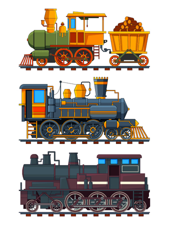 Illustrations of retro trains with wagons