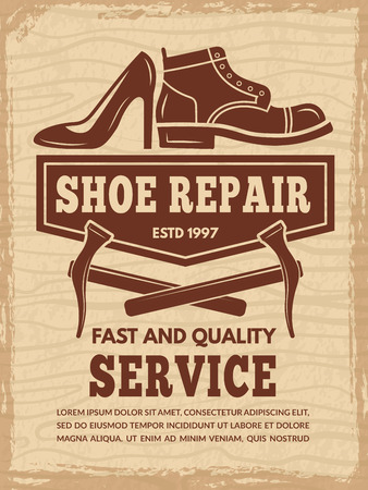 Poster with illustrations of shoe repair workshop