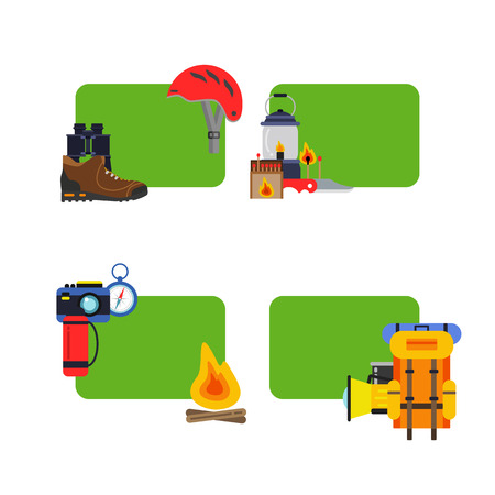 Vector set of stickers camping elements