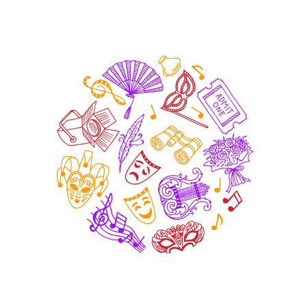 Vector doodle theatre elements in circle illustration