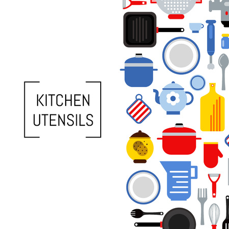 Banner or poster vector flat style kitchen utensils background illustration with place for text