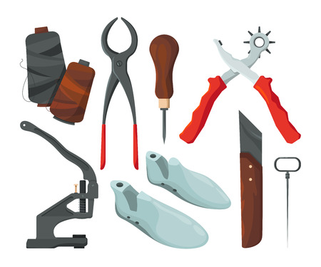 Different tools for shoe repair. Vector pictures in cartoon style