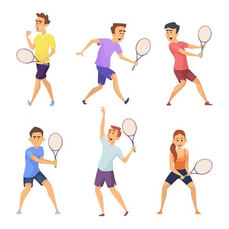 Diverse tennissers. Vector karakters in actie poses