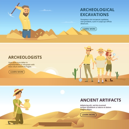 Archaeologists conduct excavations of historical values. Horizontal banners. Archaeologist and ancient artefacts. Vector illustration.