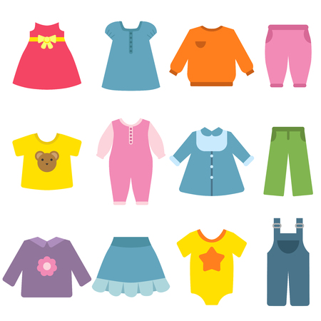 Clothes for childrens. Vector flat illustrations. Apparel kids, blouse and garment, fashion dress clothes.