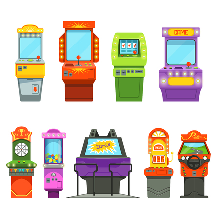 Vector colored illustrations of games machines. Driving simulator and different arcade games in amusement park Çizim