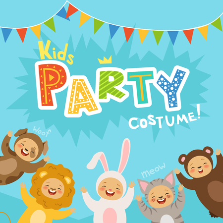 Kids party invitation with illustrations of happy childrens in carnival costumes of animals Illustration
