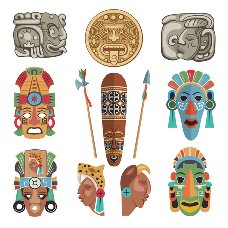Set of Mayan antique symbols and pictures