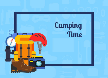 A Vector pile of flat style camping elements background illustration Stock Vector - 100552131