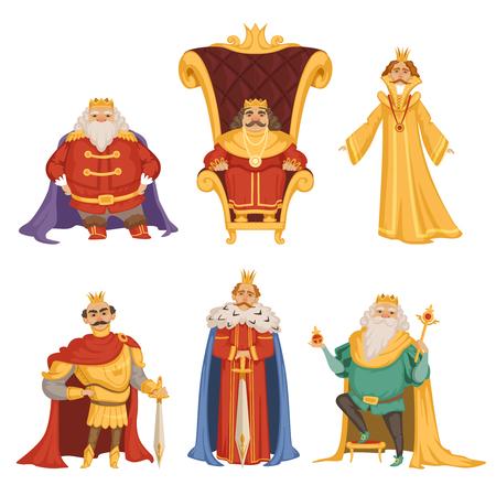 Set illustrations of king in cartoon style Illustration