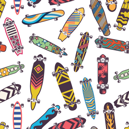 Colored seamless pattern with various skateboards.