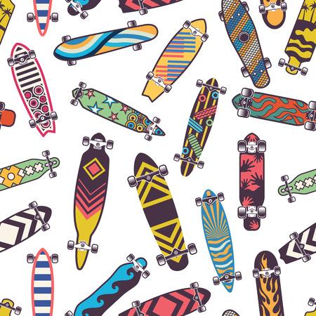 Modèle sans couture coloré avec diverses planches à roulettes.