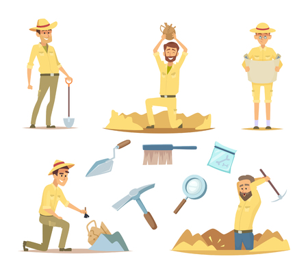 Vector archaeologist characters at work. Cartoon mascots in action poses. Illustration