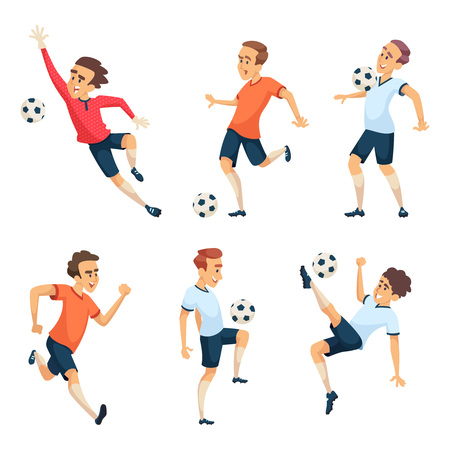 Soccer characters playing football. Isolated sport mascots on white.