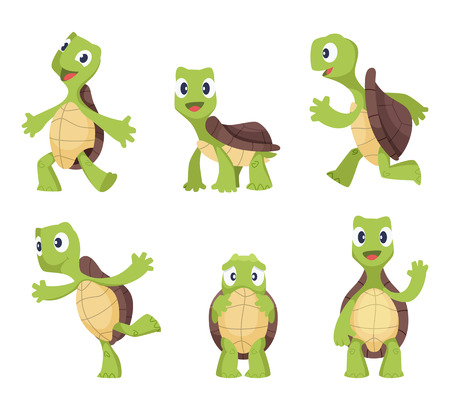 Cartoon vector turtle in various action poses illustration. Иллюстрация
