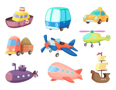 Cartoon illustrations of various transportation. Airplanes, ship, cars and others. Vector pictures of toys for kids