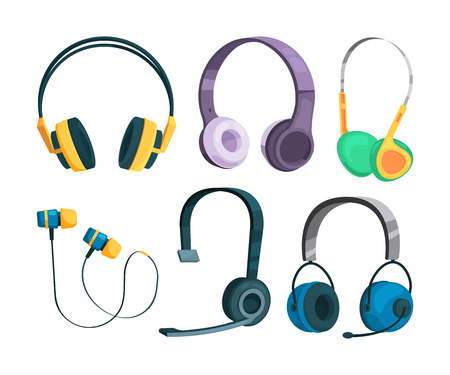 Set of illustrations of various headphones