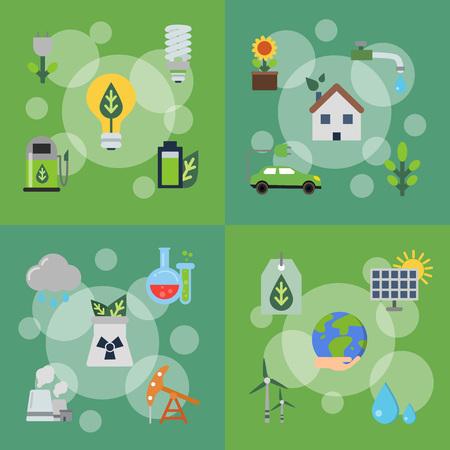 Banery wektor zestaw ilustracji z płaskimi ikonami ekologii Ilustracje wektorowe