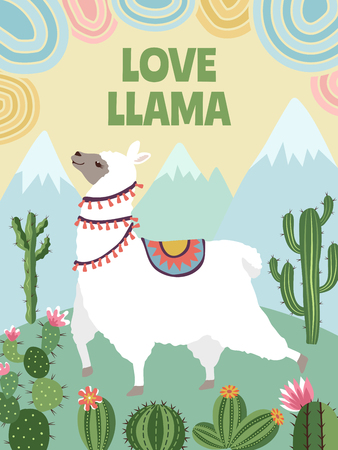 Background vector picture of llama, mountains and cactus. Cartoon illustrations for poster design template Vettoriali