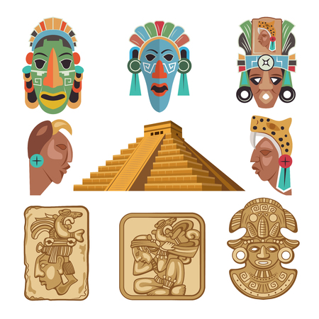 Historical symbols of Mayan culture, religion idols.