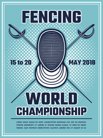 Retro poster for fencing sport. Design template with place for your text Illustration