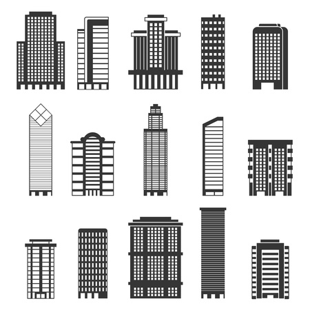 Monochrome illustrations of urban buildings. Business offices in skyscrapers