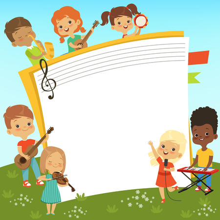 Cartoon frame with musician childrens and empty place for your personal text