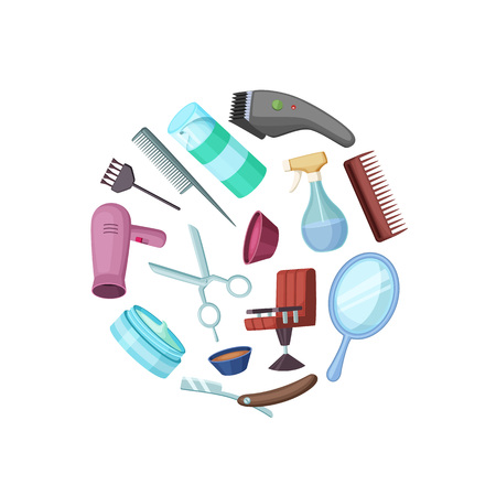 Vector hairdresser or barber cartoon elements in circle illustration