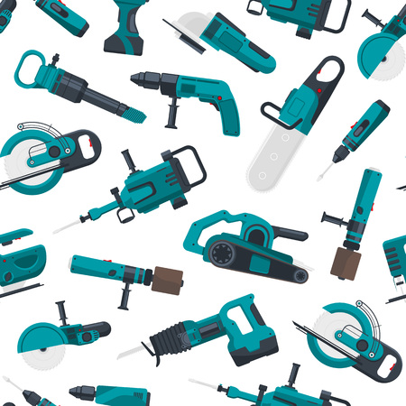 Vector pattern illustration with electric construction tools Vettoriali