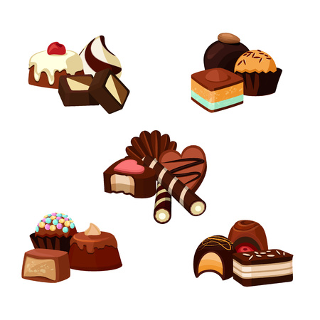 Vector set of cartoon chocolate candy piles illustration Illustration