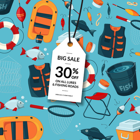 Vector sale background with cartoon fishing equipment Vettoriali