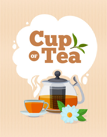 Tea time. Vector poster template with place for your text