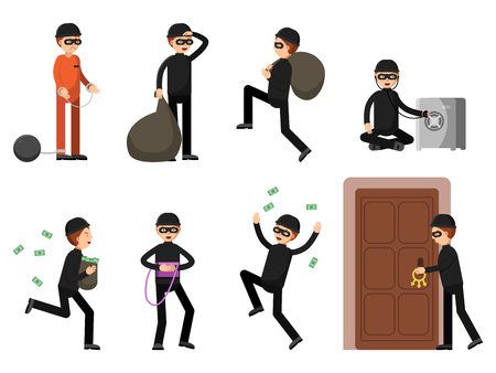 Criminal illustrations of theif characters in different action poses