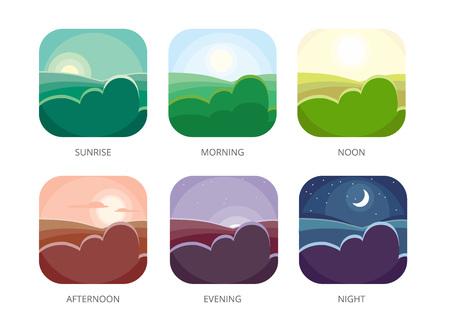 Visualisierung verschiedener Tageszeiten. Morgen, Mittag und Nacht. Flache Stilvektorillustrationen