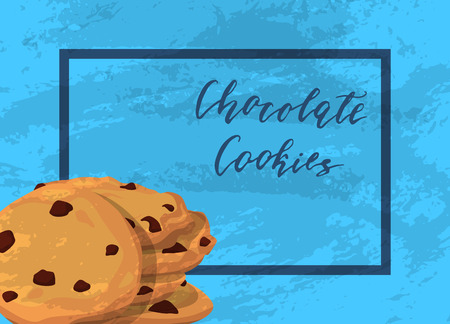 Vector chocolate cookies with grunge texture 일러스트