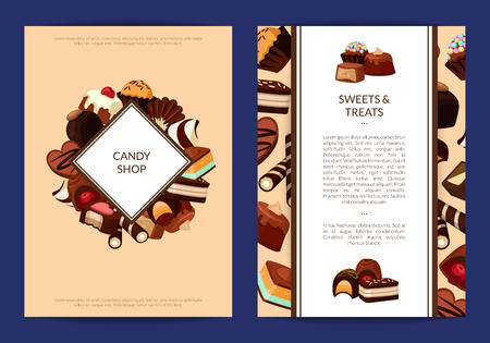 Vector card or flyer templates set with cartoon chocolate candies
