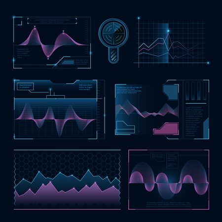 Digital music waves. Futuristic hud elements for user interface Illustration