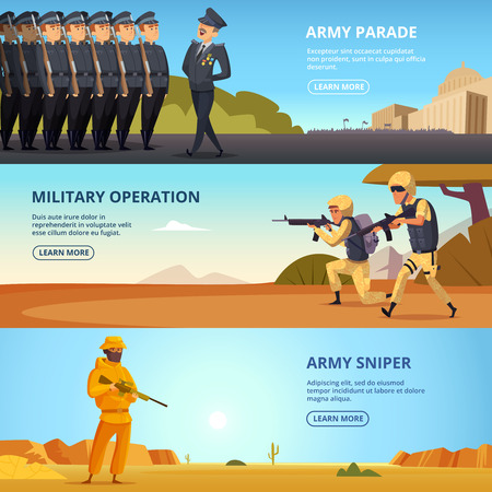 Banners set with illustrations of military characters and different specific tools
