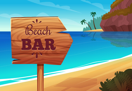 Summer background with wooden signboard on the beach Illustration