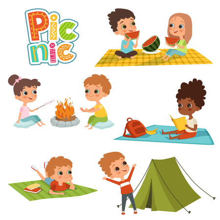 Various pictures of kids male and female have a rest on picnic