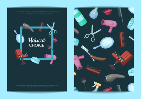 Vector card or flyer templates set for with hairdresser or barber cartoon elements illustration 向量圖像