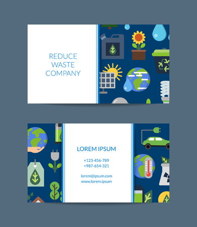 Vector business card for recycling company with ecology flat icons Illustration