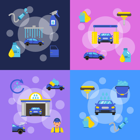 Vector banners set of concept illustrations with car wash
